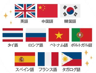 相次ぐビザ解禁以降、急激に増加している東南アジアのお客様にも対応できるよう、タイ語、ベトナム語も対応しています。